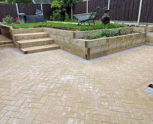 beige landscaping driveway